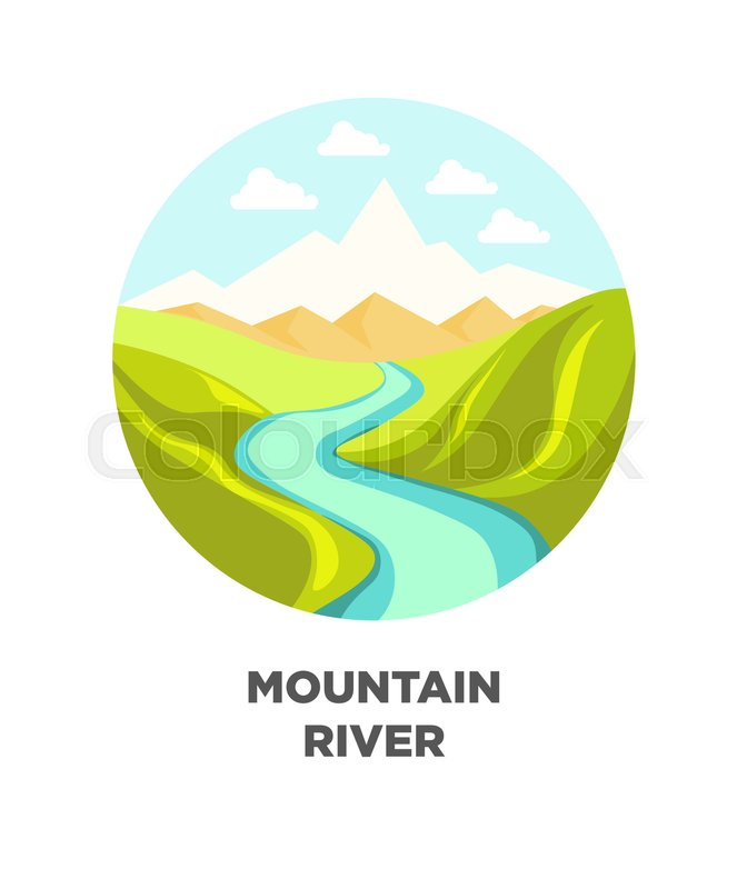 672x800 Mountain River Nature Landscape. Vector Isolated Flat Icon For