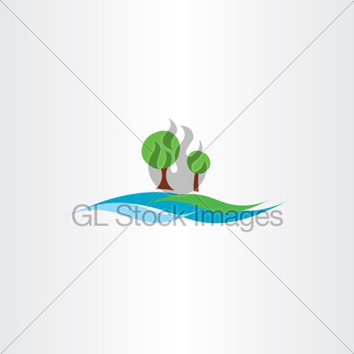 500x500 River Water Flow And Tree Landscape Icon Vector Illustration Gl