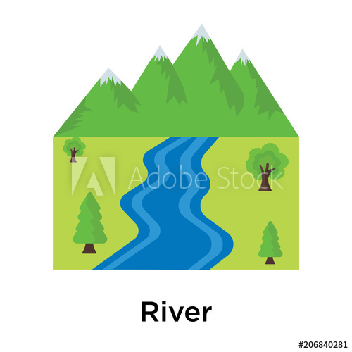500x500 River Icon Vector Sign And Symbol Isolated On White Background