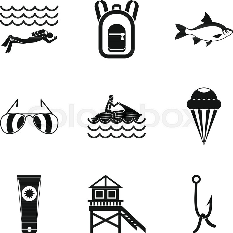 800x800 River Rest Icons Set. Simple Set Of 9 River Rest Vector Icons For