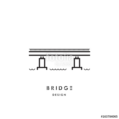 500x500 Vector Logo Of A Simple Girder Bridge, The Symbol Connecting The