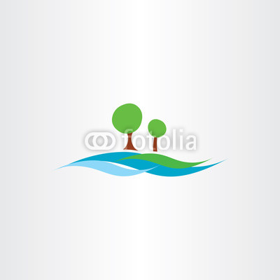 400x400 River Water Flow And Tree Landscape Icon Vector Illustration Buy