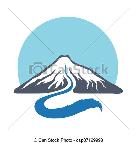 450x470 Mountain River, Vector Logo Illustration. Mountain River Or... Eps
