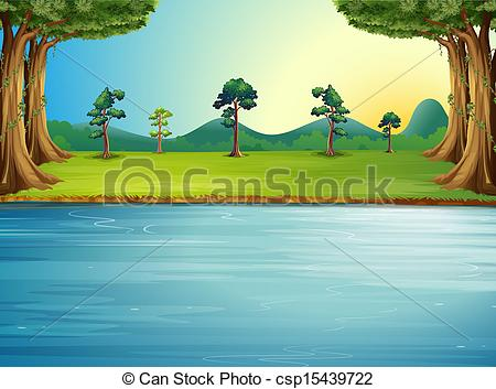 450x353 A Forest With A River. Illustration Of A Forest With A River.