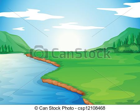 450x357 A River. Illustration Of A River In A Beautiful Nature.
