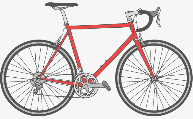 650x400 Red Hand Drawn Road Bike, Hand Vector, Road Vector, Bike Vector