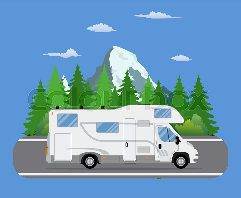 800x657 Road Travel Trailer Driving On Forest Area Road. Family Traveler