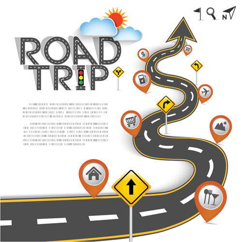 500x500 Road Trip Background Vector Material 05 Free Download