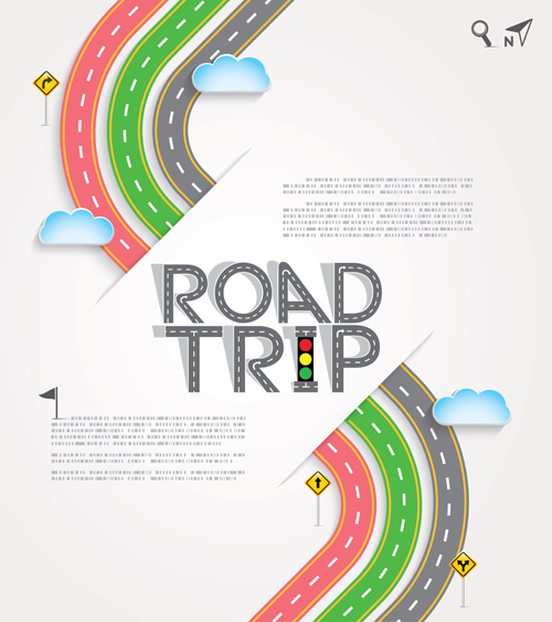 500x563 Road Trip Background Vector Material 07 Free Download