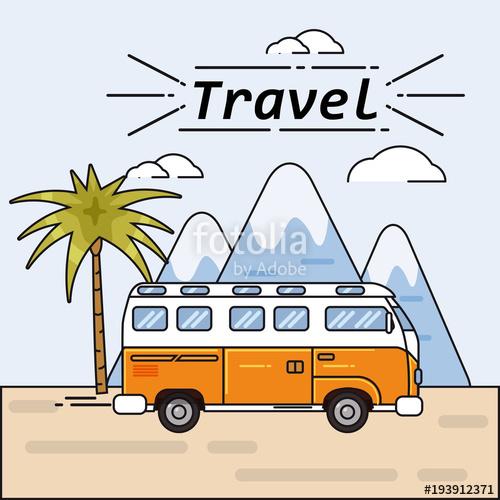 500x500 Bus Summer Trip Vector Illustratione On Summer Holidays. Traveler