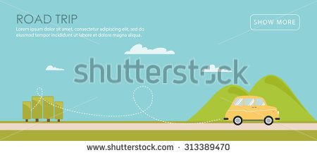 450x220 Road Trip. Vector Illustration In The Flat Style Of A Car With