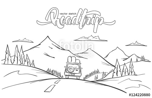 500x322 Vector Illustration Hand Drawn Mountains Landscape With Rides Car