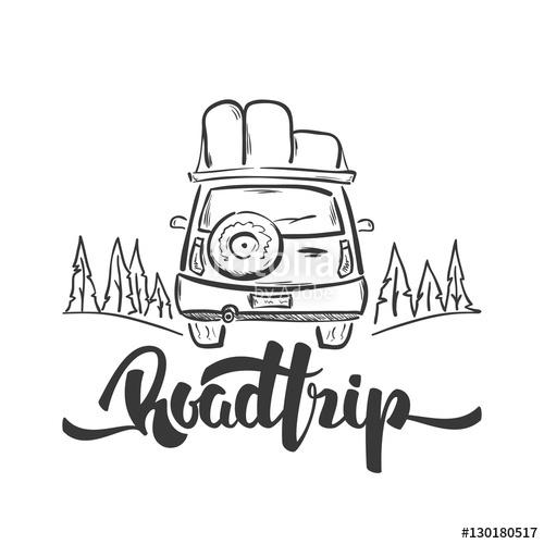 500x500 Vector Illustration Hand Drawn Travel Car And Handwritten