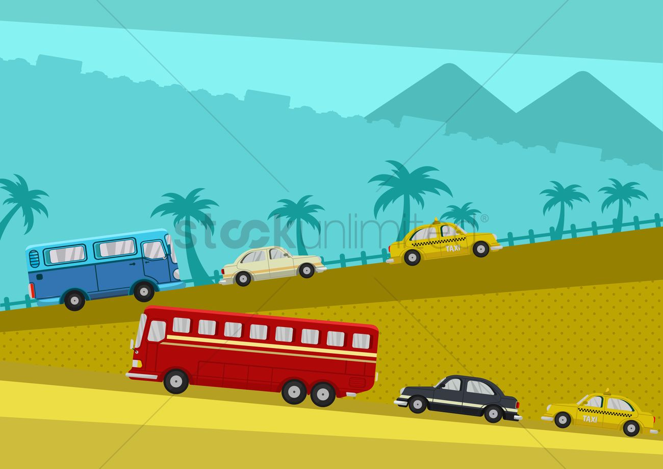 1300x919 Vehicles On Road Trip Vector Image