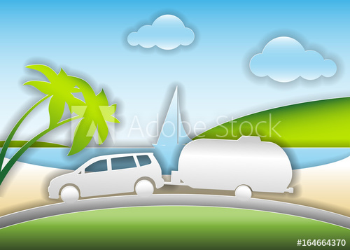 500x357 Car With Trailer Travels On A Summer Road Trip. Vector