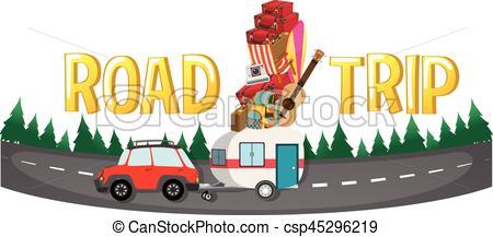 450x217 Font Design For Word Road Trip Illustration.