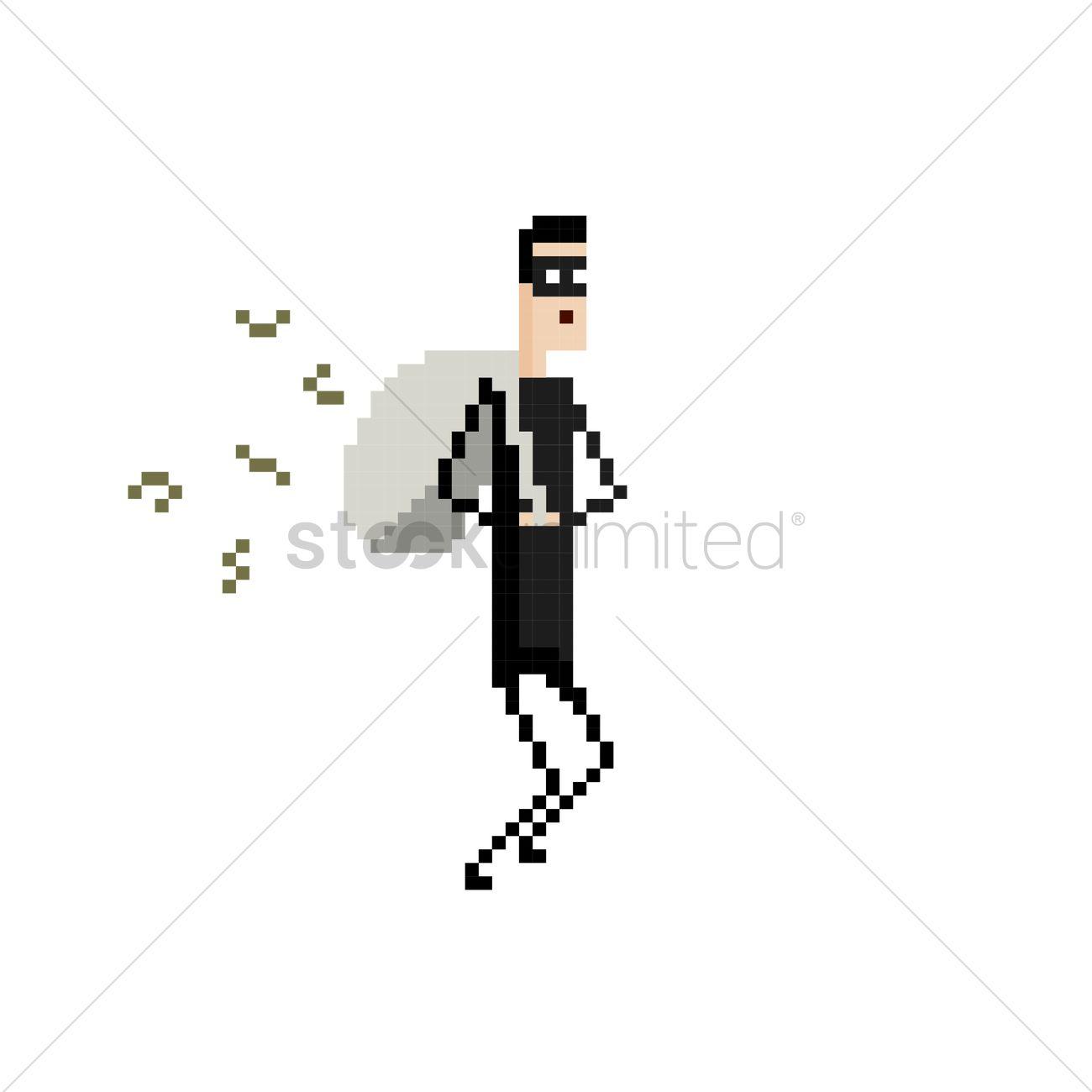 1300x1300 Pixel Art Robber Vector Image