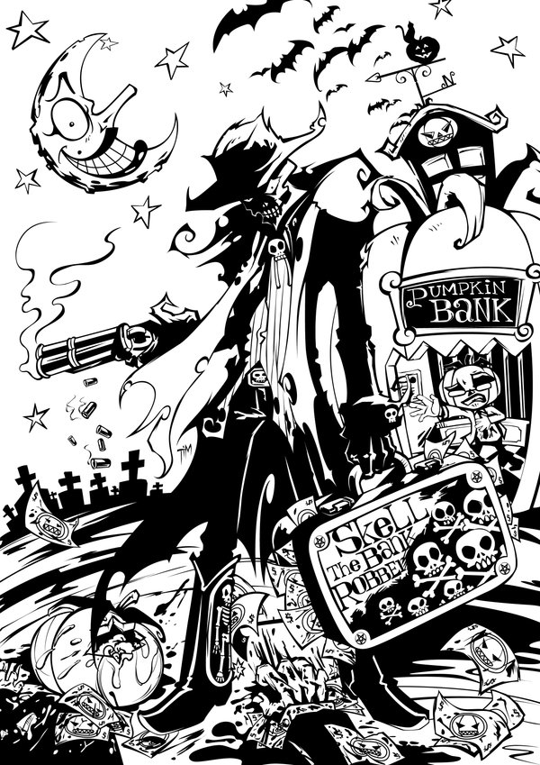 600x849 Skell The Bank Robber Vector By Timwork