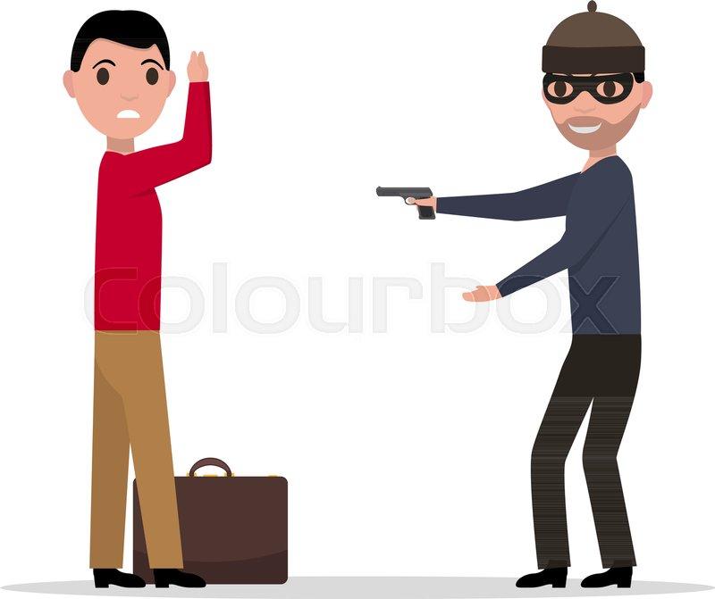 800x671 Vector Illustration Of A Cartoon Robber With A Gun Robbing A Man