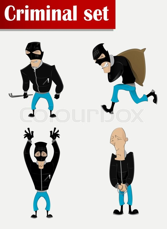 583x800 Cartoon Criminal In Mask Set. . Crime, Theft, Robbery, Assault