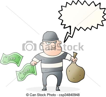 450x413 Freehand Drawn Speech Bubble Cartoon Bank Robber.