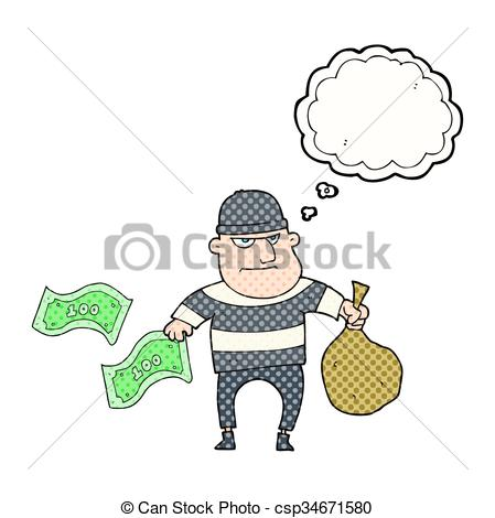 449x470 Freehand Drawn Thought Bubble Cartoon Bank Robber.