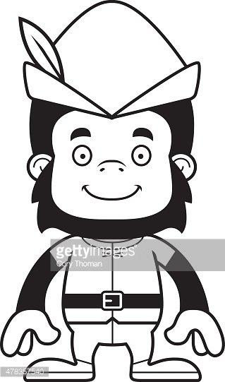 319x541 Cartoon Smiling Robin Hood Gorilla Stock Vectors