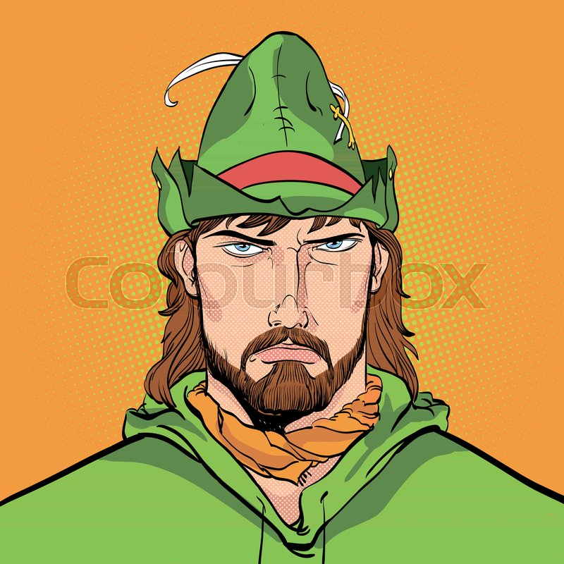 800x800 Robin Hood. Robin Hood In A Hat With Feather. Young Soldier. Noble