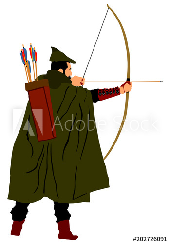 349x500 Archer Vector Illustration Isolated On White Background. Robin