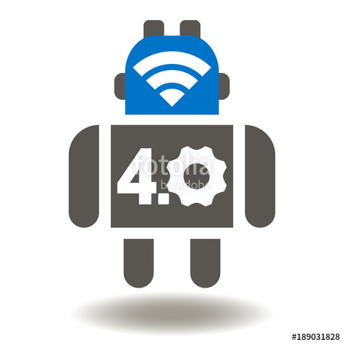 500x500 Smart Robot Industry 4.0 Icon Vector. Wireless Robotics Automation