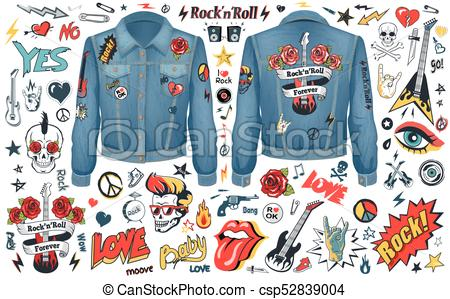 450x299 Rock And Roll Theme Icons Vector Illustration Set. Rock N Roll