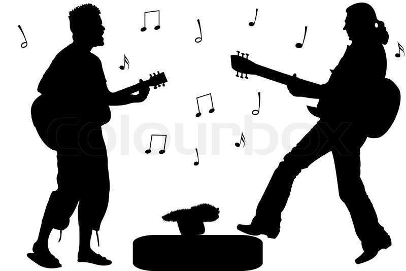 800x534 Guitar Rock Stars, Abstract Singers Silhouettes Against White