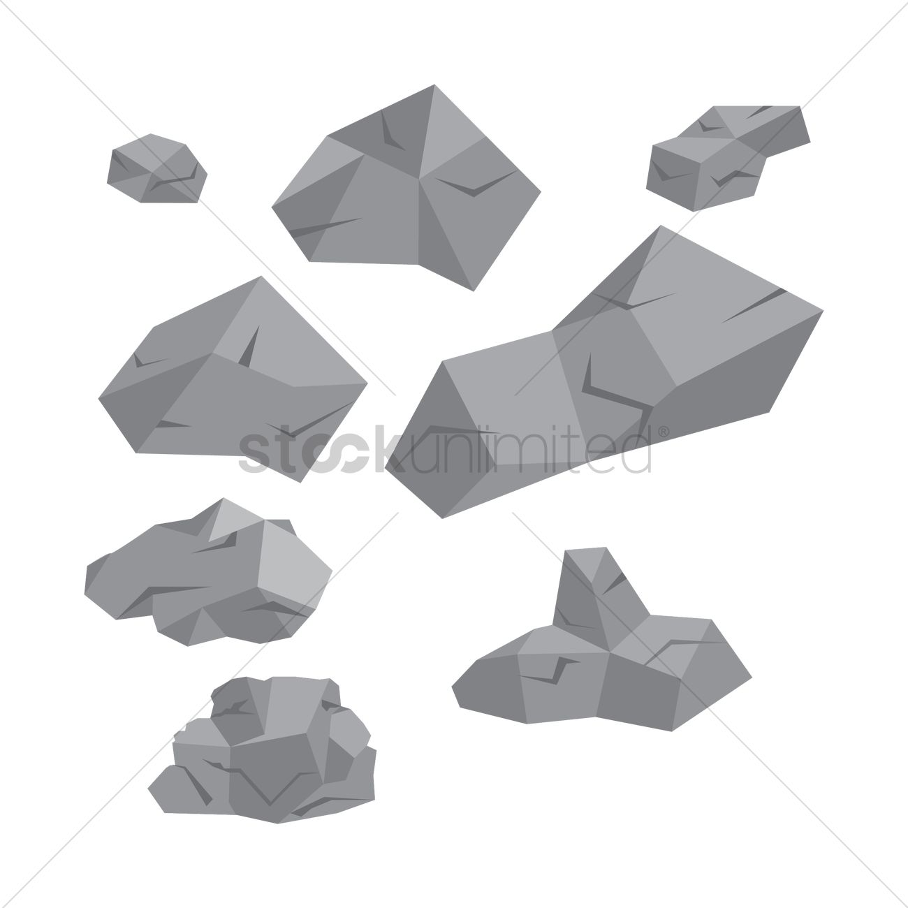 1300x1300 Isometric Rocks Vector Image