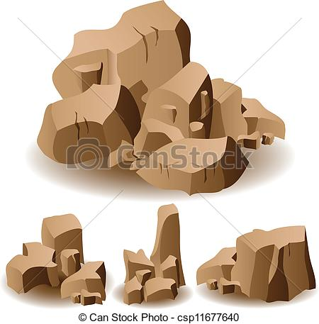 450x457 Rock And Stone Set. Illustration Of Different Brown Rocks And Stones.