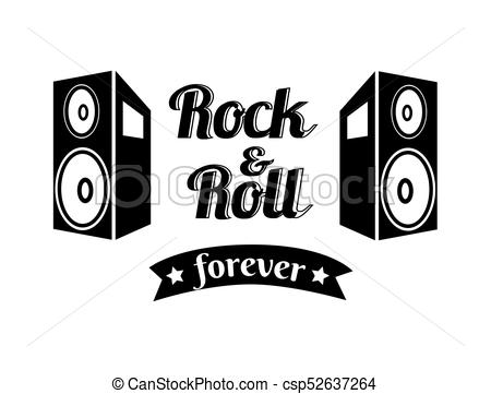 450x361 Rock N Roll Forever Ribbon Vector Illustration. Rock N Roll