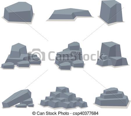 450x398 Rock Stone Set Object Vector Art Illustration.