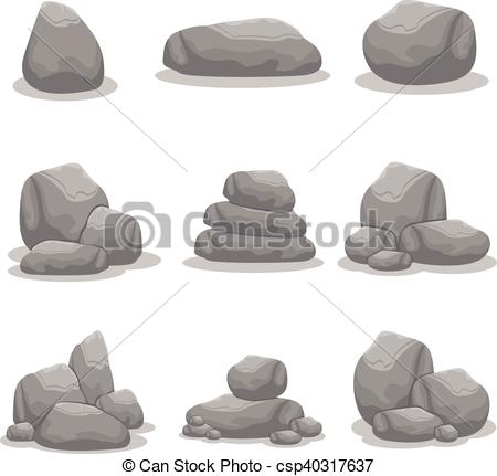 450x431 Silhouette Of Rock Object Vector Art Collection.