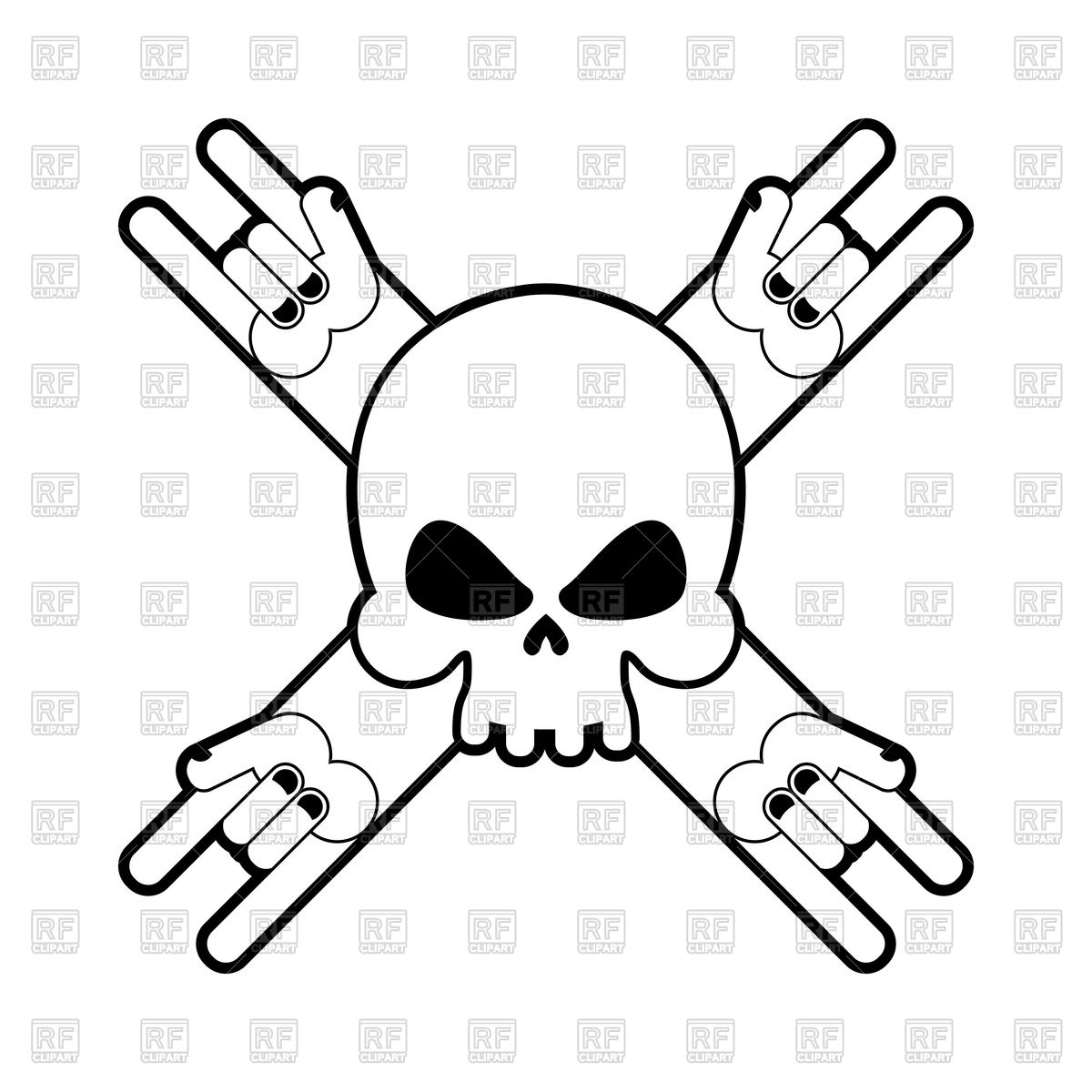 1200x1200 Skull With Hands Rock Sign Vector Image Vector Artwork Of Icons