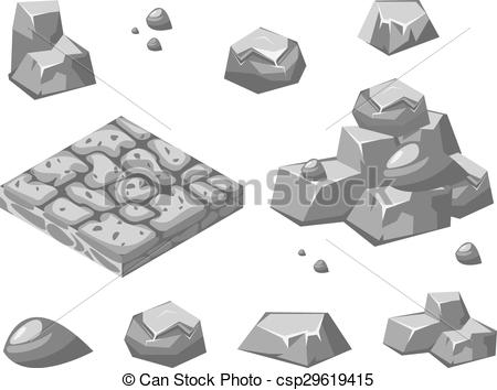 450x354 Stones And Rocks. Stones And Rocks In Isometric 3d Flat Style.