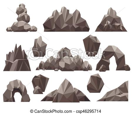 450x388 Cartoon 3d Rock And Stone Set Vector Illustration. Mountain Rocks
