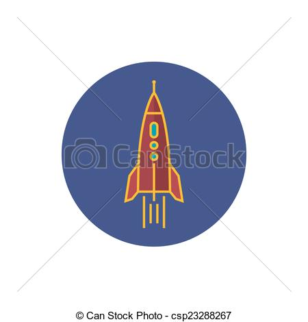450x470 Rocket Icon, Vector Illustration. Colorful Round Icon Rocket