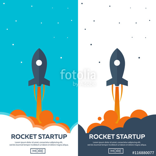 500x500 Rocket Startup. Business. Rocket Ship In A Flat Style.vector