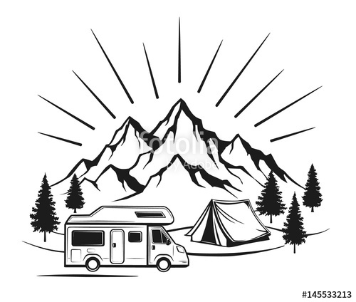 500x424 Campsite With Camper Caravan, Tent, Rocky Mountains, Pine Forest