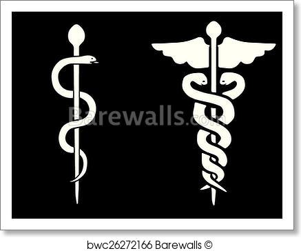 437x364 Art Print Of Vector Of A Rod Of Asclepius And A Caduceus