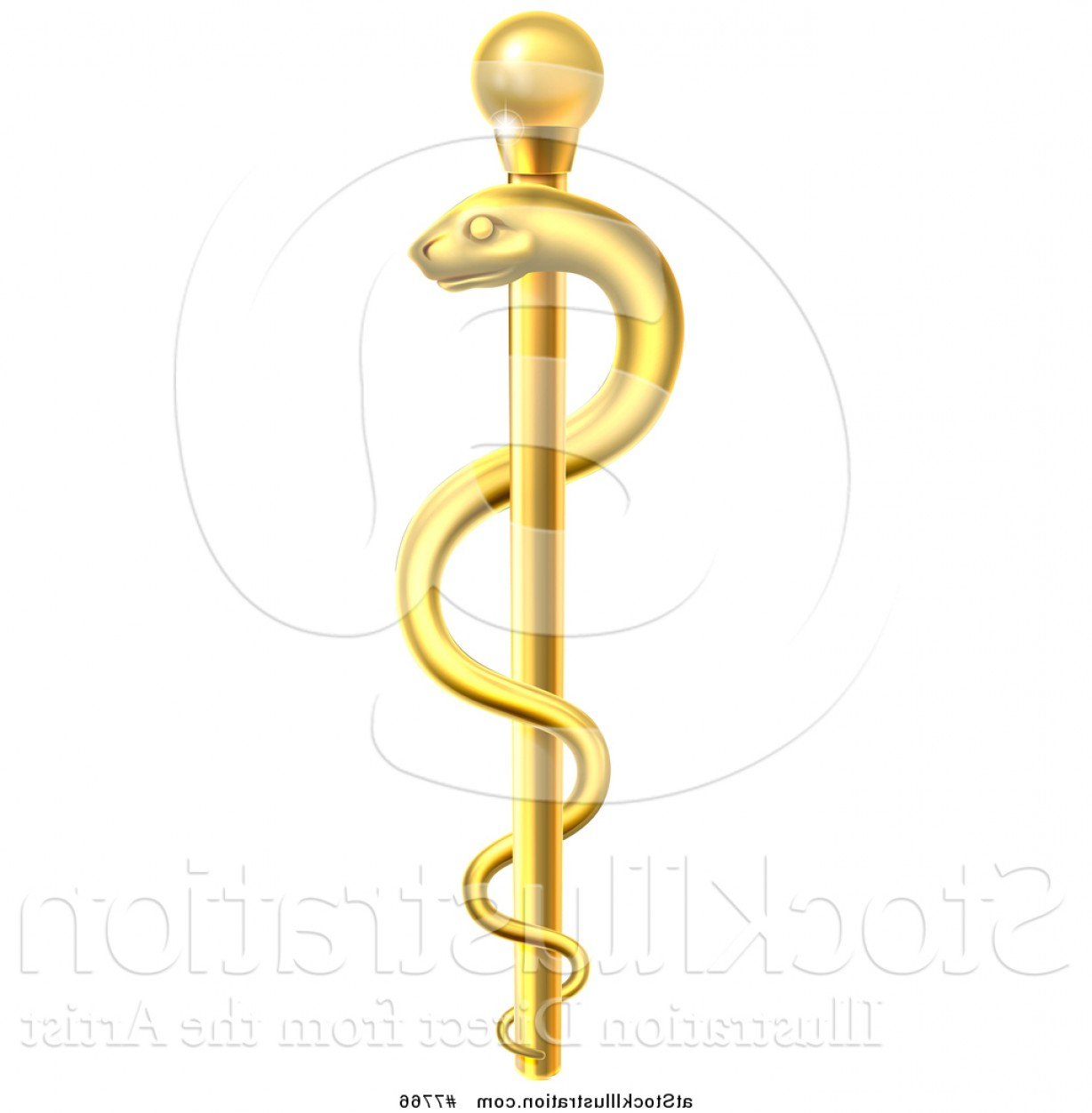 1228x1252 Vector Illustration Of A D Gold Medical Rod Of Asclepius With A