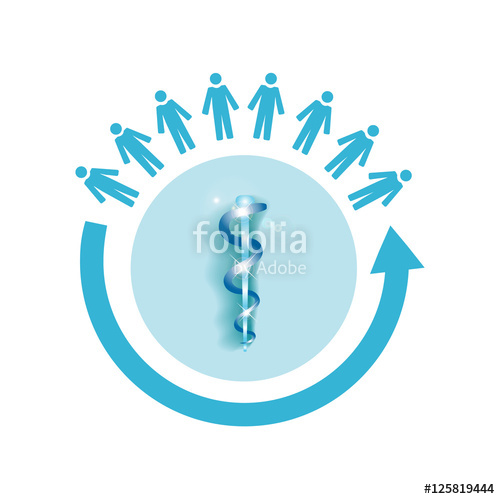 500x499 Vector Image Of A Circle Of People With The Medical Symbol Rod Of