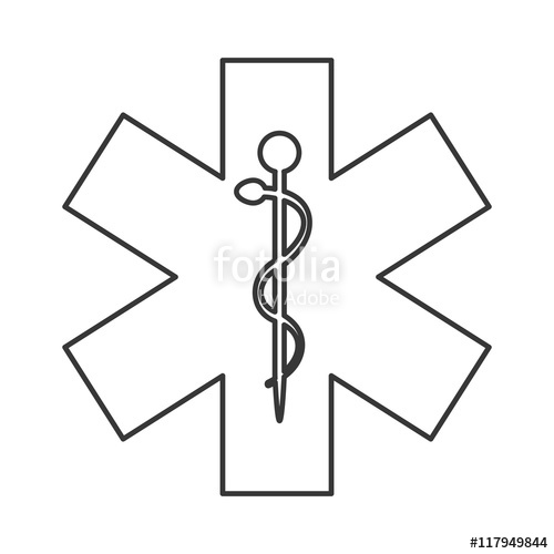 500x500 Flat Design Rod Of Asclepius Icon Vector Illustration Stock Image