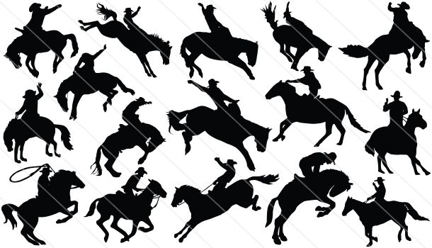 610x350 Cowboy At Rodeo Silhouette Cowboy Vectors Sports Vector Graphics