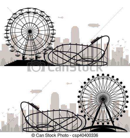 444x470 Vector Background Of A City And Amusement Park With Ferris Wheel