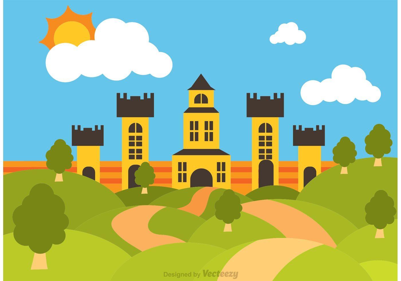 1400x980 Illustration Of Rolling Hills Landscape With Big Castle Vector